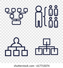 Organisation icons set. set of 4 organisation outline icons such as structure