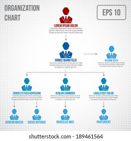 Organisational chart infographic business hierarchy boss to employee structure vector illustration