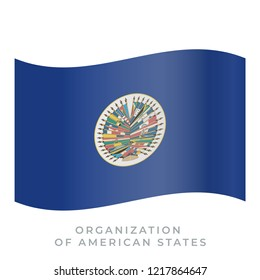 Organization of American States waving flag vector icon. Fluttered in the wind. Vector illustration isolated on white.