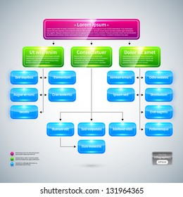 Organization chart with colorful glossy elements. Useful for presentations.