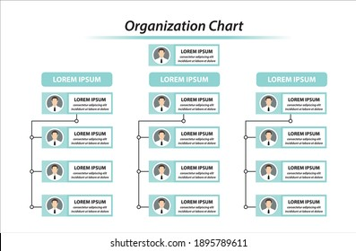 Organization Chart Infographics with People Icon and Abstract Line, Business Structure, Hierarchy of employees, org  Vector Illustration.