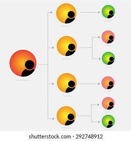 organization chart infographics, vector illustration
