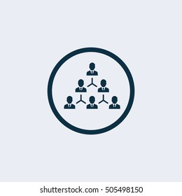 Organization Chart Tree Company Corporate Hierarchy Chairman CEO Manager Staff Employee Worker Stick Figure Pictogram Icon