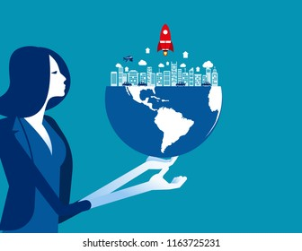 Organization holds the globe. Concept business vector, World, Corporate, Occupy.