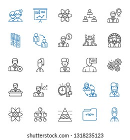 organization icons set. Collection of organization with user, folder, pyramid chart, sitemap, atom, employee, employees, working, teamwork. Editable and scalable organization icons.