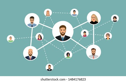 Organization of people related vector icon. Flat icon isolated on white background. Vector illustration. Referral marketing, network marketing, business partnership, referral program strategy.