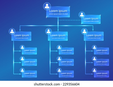 Organizational chart infographic, Business Structure Concept, Business Flowchart Work Process, Blue Abstract Design, Vector Illustration.