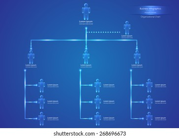 Organizational Chart Infographics, Human Icons, Abstract Blue Background, Business Structure Concept, Business Flowchart Work Process, Blue Abstract Design, Vector Illustration.