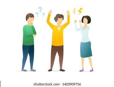 Organizational conflict flat vector illustration. Misunderstanding, disagreement between workers, colleagues concept. Conflict management. Coworkers, partners arguing, shouting cartoon characters.