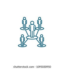 Organizational structure linear icon concept. Organizational structure line vector sign, symbol, illustration.