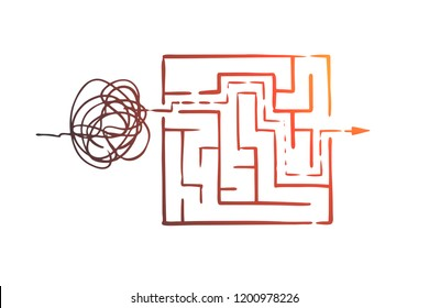 Organize, order, control, sort, chaos concept. Hand drawn from chaos to order symbol concept sketch. Isolated vector illustration.