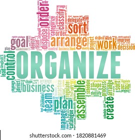 Organize vector illustration word cloud isolated on a white background.