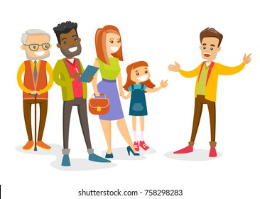 An organized group of multicultural tourists sightseeing and listening to caucasian guide telling the history of the city. Tourists having excursion with guide. Vector isolated cartoon illustration.