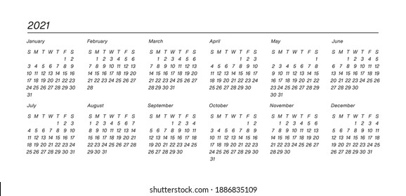 Organizer and bullet journal printable. Perfect minimalist calendar. 2021 year at glance. Week starts at Sunday. European English Gregorian calendar. Planner sticker. Stationery. Vector.