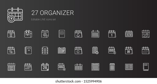 organizer icons set. Collection of organizer with notepad, calendar, schedule, archive, notebook. Editable and scalable organizer icons.