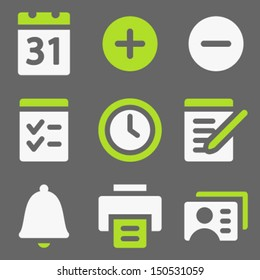 Organizer web icons, white and green on grey