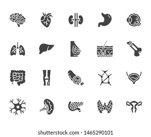 Organs, anatomy flat glyph icons set. Human bones, stomach, brain, heart, bladder, nervous system vector illustrations. Signs for medical clinic. Silhouette pictogram.