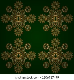 Orient background with golden repeating elements. Damask vector classic golden pattern. Seamless abstract elements in golden colors on green background.