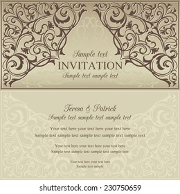 Orient east invitation card in old-fashioned style, brown and beige