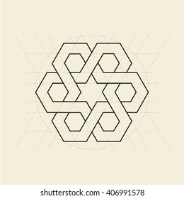 Orient ornament. Minimal islamic abstract symbol. Sacred geometry. Light yellow background. Stock vector.