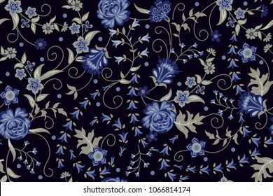 Orient seamless pattern with floral motif