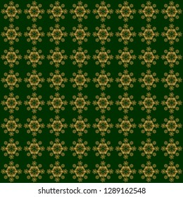 Orient textile print for bed linen, jacket, package design, fabric and fashion concepts. Vector golden grid pattern with abstract flowers and stars on a green background.