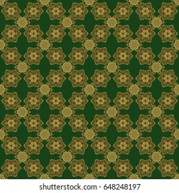 Orient textile print for bed linen, jacket, package design, fabric and fashion concepts. Vector golden grid seamless pattern with abstract flowers and stars on a green background.