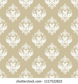 Orient vector classic pattern. Seamless abstract background with vintage elements. Orient background. Gold and white ornament for wallpaper and packaging