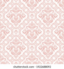 Orient vector classic pink and white pattern. Seamless abstract background with vintage elements. Orient background. Ornament for wallpaper and packaging