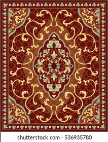 Oriental abstract ornament. Red and blue template for carpet, coverlet, shawl, textile and any surface. Ornamental pattern with filigree details.