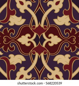 Oriental abstract ornament. Template for carpet, wallpaper, textile and any surface. Red and purple rich pattern.