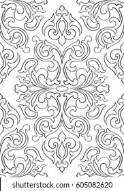Oriental abstract ornament. Template for carpet, textile and any surface. Seamless vector pattern of black contour on a white background.
