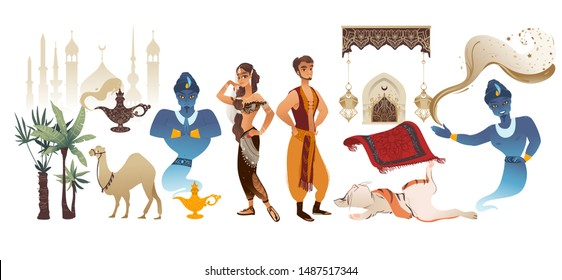Oriental Aladdin fairy tale cartoon arab man, princess and genie characters and objects of a fairy tale set of flat vector illustrations isolated on white background.
