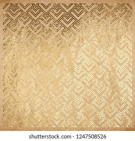Oriental ancient geometric pattern real golden paint metallic foil decorative backdrop origami paper vintage old texture gold ink or glitter foil background scrapbooking page template for cards.