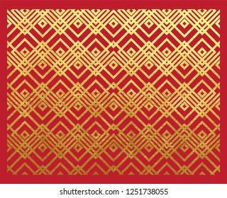 Oriental ancient geometric pattern real golden paint metallic foil ornament on lucky red paper with gold ink or glitter background Chinese new year.