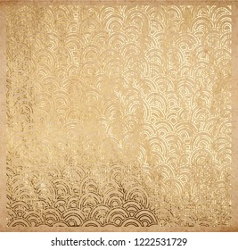 Oriental ancient pattern of waves real golden metallic foil decorative lace backdrop origami paper on old texture with gold glitter ink background scrapbook Victorian style page template