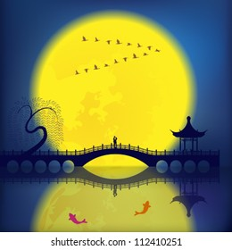 Oriental Ancient Scenery: Arch Bridge, Pavilion, Willow, Fish and Moon