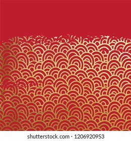 Oriental ancient seigaiha waves pattern grungy real golden paint metallic foil on lucky red origami paper vintage old scratched gold ink or glitter background.