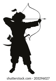 Oriental archer with bow and arrow detailed vector silhouette. EPS 8