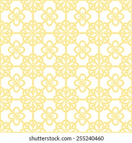 Oriental Asian net pattern with round knot compositions. White and golden theme. Stylish seamless background for your design. Vector illustration.