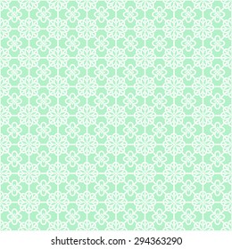 Oriental Asian net pattern with round knot compositions. Mint and white colors. Stylish seamless background for your design. Vector illustration.