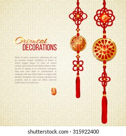 Oriental Asian red and golden tassel decorations. Lotus image, yin yang symbol and knot elements. Stamp with Chinese hieroglyph for 'joy'. Perfect decor for Asian New Year or Harvest Festival. Vector.