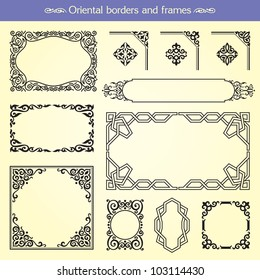 Oriental asian vector borders, frames and corners
