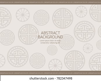 Oriental background with korean japanese chinese ornaments elements. Vector illustration