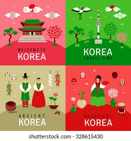 Oriental banners set. Square cards with traditional symbols. Korean architecture and nature, letters of Korean alphabet. Asian New Year. Icons in flat style. Vector illustration for creative design.