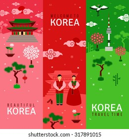 Oriental banners set. Vertical cards with traditional symbols. Korean architecture and nature, letters of Korean alphabet. Asian New Year. Banners set in flat style. Vector illustration.
