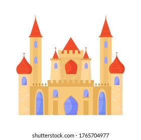 Oriental castle arabic baroque style. Elegant palace white brick temple minarets on sides red tiled domes graceful central doors openwork bars elongated windows blue. Eastern cartoon vector style.
