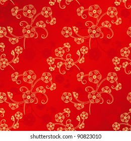 Oriental Chinese New Year cherry blossom seamless pattern background