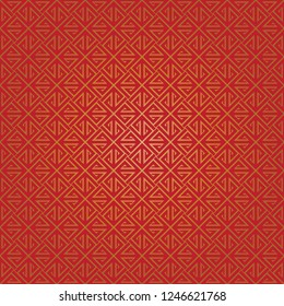 Oriental chinese stripes square pattern vector. Design diagonal lines gradient gold on red background. Design print for textile, wallpaper, background, paper. Set 3