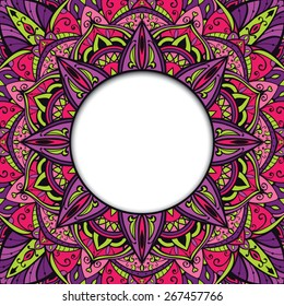 Oriental, colorful, ornamental frame. Background with detailed ornaments and place for text. Vector card.
